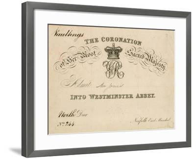 Invitation to the Coronation of Her Most Sacred Majesty at Westminster Abbey, 28 June 1838--Framed Giclee Print