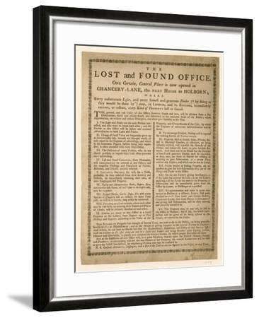 The Lost and Found Office, Chancery Lane, London--Framed Giclee Print