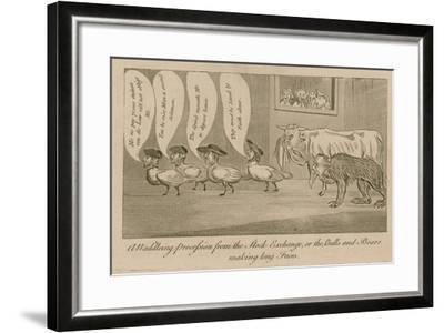 A Waddling Proccession from the Stock Exchange, or the Bulls and Bears Making Long Faces--Framed Giclee Print