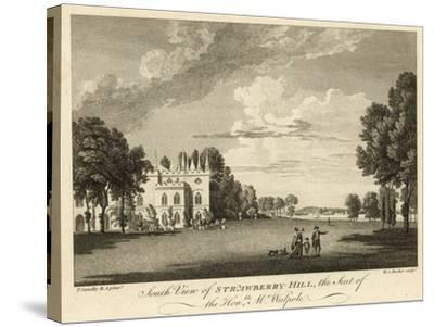 South View of Strawberry Hill, Twickenham, London, the Seat of the Honourable Horace Walpole-Paul Sandby-Stretched Canvas Print