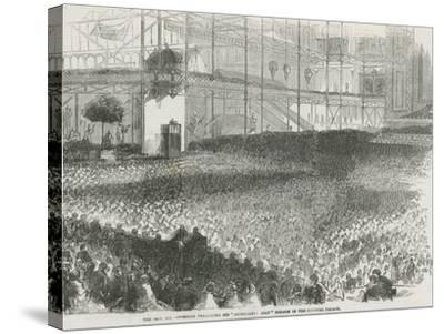 The Reverend Charles Haddon Spurgeon Preaching His 'Humiliation Day' Sermon in the Crystal Palace--Stretched Canvas Print