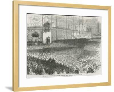 The Reverend Charles Haddon Spurgeon Preaching His 'Humiliation Day' Sermon in the Crystal Palace--Framed Giclee Print