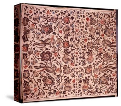 "A Batik Sarong with ""Alas Alasan"" Design Incorporating Flowers and Birds--Stretched Canvas Print"