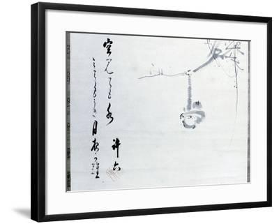 Calligraphy by Matsuo Basho, Revered as the Greatest of the Haiku Poets, with a Painting by One…--Framed Giclee Print
