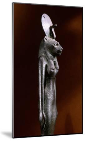 Bronze Figure of the Lion-Headed Goddess Sekhmet with Sun Disc and Uraeus--Mounted Giclee Print
