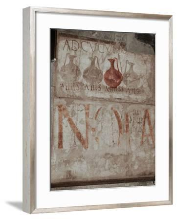 """A Wine Shop Sign in the Main Street, Advising to """"Come to the Sign of the Bowls"""" (Ad Cucumas)--Framed Giclee Print"""