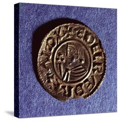 Silver Penny of Ethelred II (978-1016) Crvx (Crux) Type with Sceptre with Trefoil Head--Stretched Canvas Print