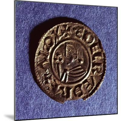 Silver Penny of Ethelred II (978-1016) Crvx (Crux) Type with Sceptre with Trefoil Head--Mounted Giclee Print