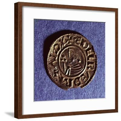 Silver Penny of Ethelred II (978-1016) Crvx (Crux) Type with Sceptre with Trefoil Head--Framed Giclee Print