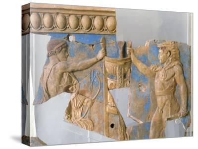 Terracotta Plaque from the Temple of Apollo on the Palatine--Stretched Canvas Print