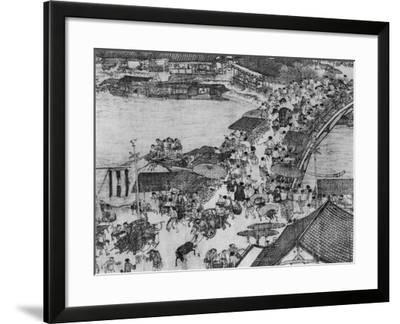 "A Detail of a Scroll Called ""Going Up the River at the Qingming (Spring) Festival"" by Zhang Zeduan--Framed Giclee Print"