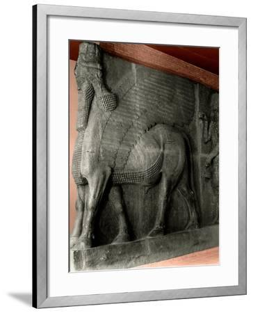 Human-Headed Winged Bull and Attendant Genie from the Palace of Sargon II at Khorsabad--Framed Giclee Print