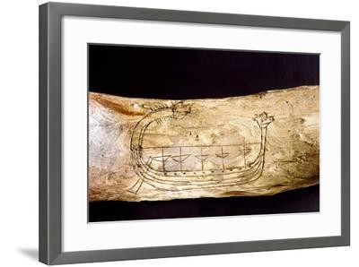 A Norse Ship Incised on a Piece of Wood--Framed Giclee Print