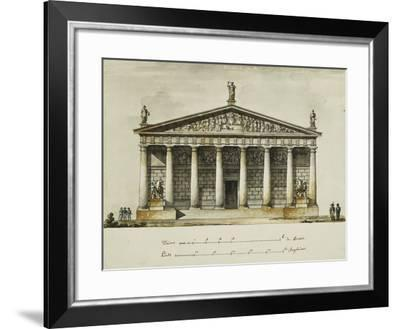 Designs for the Riding School of the Horse Guards, St. Petersburg: Elevations, Section and Ground…-Giacomo Quarenghi-Framed Giclee Print