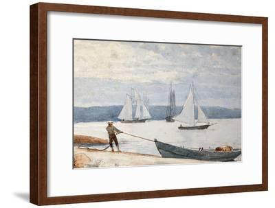 Pulling the Dory, 1880-Winslow Homer-Framed Premium Giclee Print