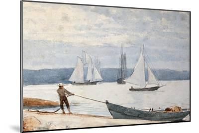 Pulling the Dory, 1880-Winslow Homer-Mounted Premium Giclee Print