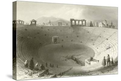 The Amphitheatre, Verona-William Henry Bartlett-Stretched Canvas Print
