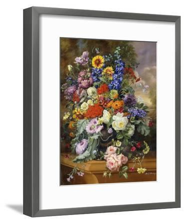 Still Life with Roses, Delphiniums, Poppies, and Marigolds on a Ledge-Albert Williams-Framed Giclee Print
