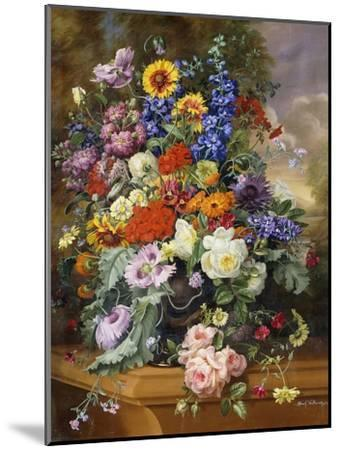 Still Life with Roses, Delphiniums, Poppies, and Marigolds on a Ledge-Albert Williams-Mounted Giclee Print