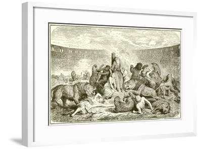 Christian Martyrs in the Arena-English School-Framed Giclee Print
