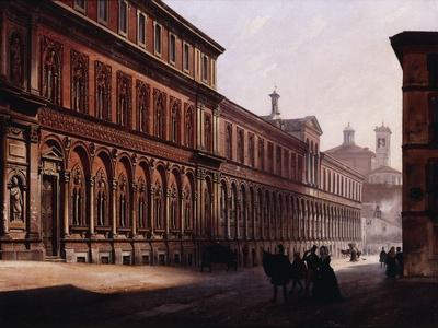 The Ca' Grande in the Via Festa Del Perdona, with S, 1842-Luigi Premazzi-Framed Giclee Print