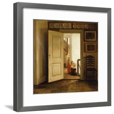 Children in an Interior-Carl Holsoe-Framed Giclee Print