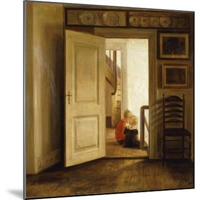 Children in an Interior-Carl Holsoe-Mounted Giclee Print