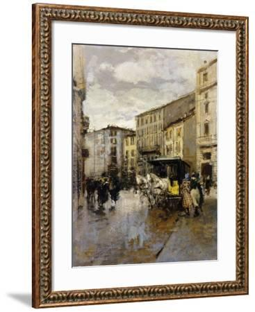 A Street Scene, Milan-Mose Bianchi-Framed Giclee Print
