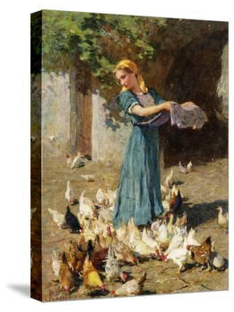 Feeding the Chickens-Luigi Rossi-Stretched Canvas Print