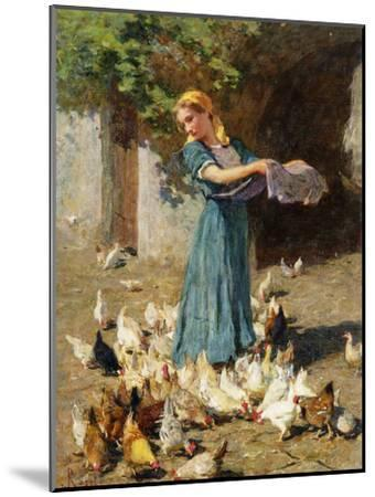 Feeding the Chickens-Luigi Rossi-Mounted Premium Giclee Print
