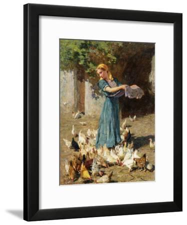 Feeding the Chickens-Luigi Rossi-Framed Giclee Print