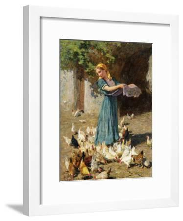 Feeding the Chickens-Luigi Rossi-Framed Giclee Print