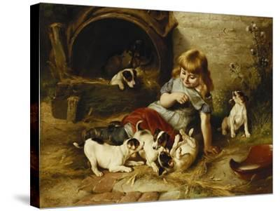 Playmates, 1890-Walter Hunt-Stretched Canvas Print