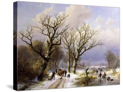 A Wooded Winter Landscape with Figures, 1863- E.J. Verboeckhoven and J.B. Klombeck-Stretched Canvas Print