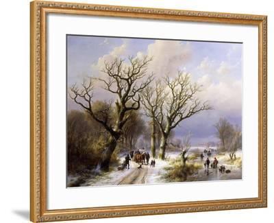 A Wooded Winter Landscape with Figures, 1863- E.J. Verboeckhoven and J.B. Klombeck-Framed Giclee Print