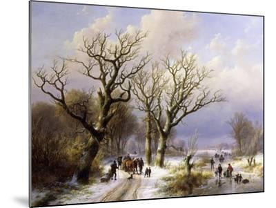 A Wooded Winter Landscape with Figures, 1863- E.J. Verboeckhoven and J.B. Klombeck-Mounted Giclee Print