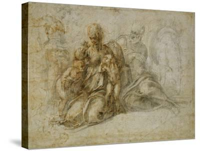 The Meeting of the Infant Saint John the Baptist with the Holy Family Attended by Angels: the…-Michelangelo Buonarroti-Stretched Canvas Print
