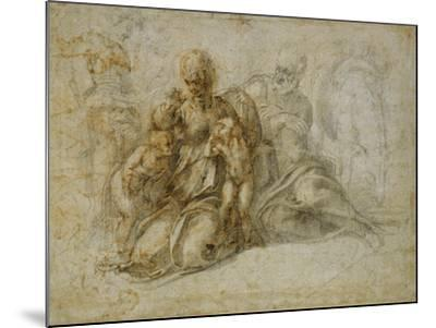 The Meeting of the Infant Saint John the Baptist with the Holy Family Attended by Angels: the…-Michelangelo Buonarroti-Mounted Giclee Print