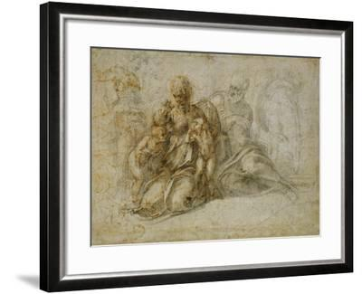 The Meeting of the Infant Saint John the Baptist with the Holy Family Attended by Angels: the…-Michelangelo Buonarroti-Framed Giclee Print