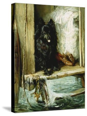 Left in Charge - a Black Pomerain on the Steps of a Bathing Machine-Philip Eustace Stretton-Stretched Canvas Print