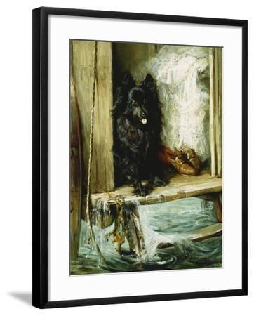 Left in Charge - a Black Pomerain on the Steps of a Bathing Machine-Philip Eustace Stretton-Framed Giclee Print