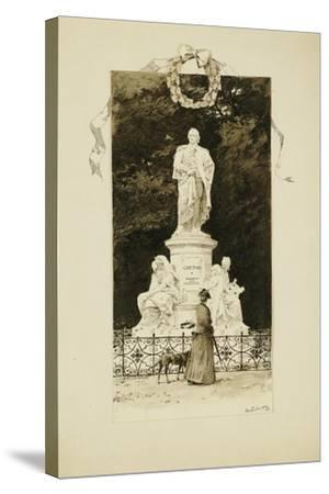 An Elegant Lady at the Statue of Goethe, 1888-Paul Fischer-Stretched Canvas Print