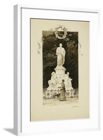 An Elegant Lady at the Statue of Goethe, 1888-Paul Fischer-Framed Giclee Print