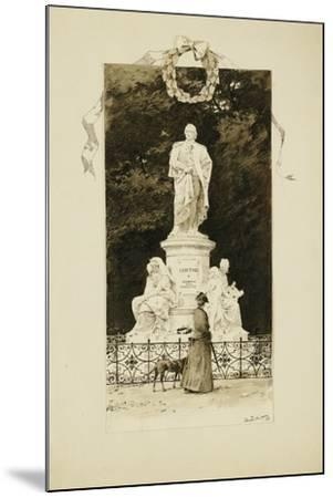 An Elegant Lady at the Statue of Goethe, 1888-Paul Fischer-Mounted Giclee Print