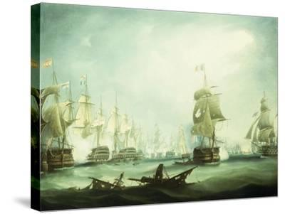 The Battle of Trafalgar, 1805-Thomas Buttersworth-Stretched Canvas Print