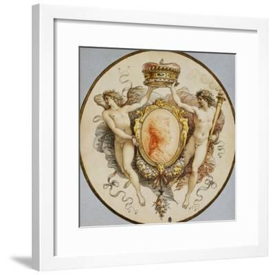 An Oval Portrait of a Woman in Profile with a Decorative Border of Grotesques and Swags, with…-Giuseppe Cades-Framed Giclee Print
