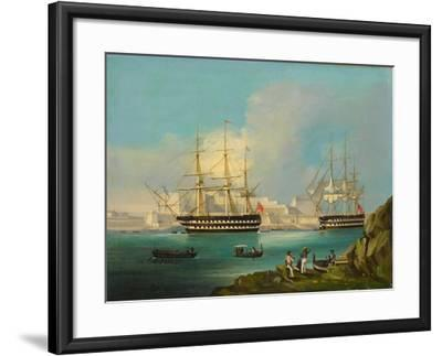 Plymouth Harbour with Shipping--Framed Giclee Print