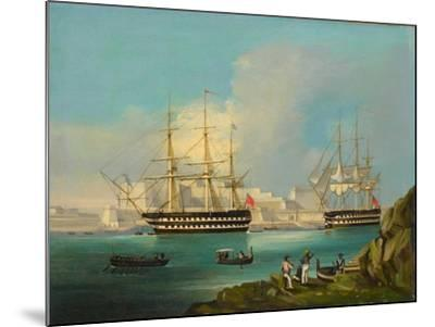 Plymouth Harbour with Shipping--Mounted Giclee Print