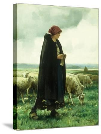 A Shepherdess with Her Flock-Julien Dupre-Stretched Canvas Print