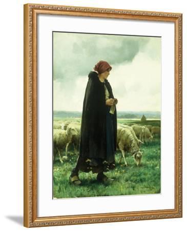A Shepherdess with Her Flock-Julien Dupre-Framed Giclee Print